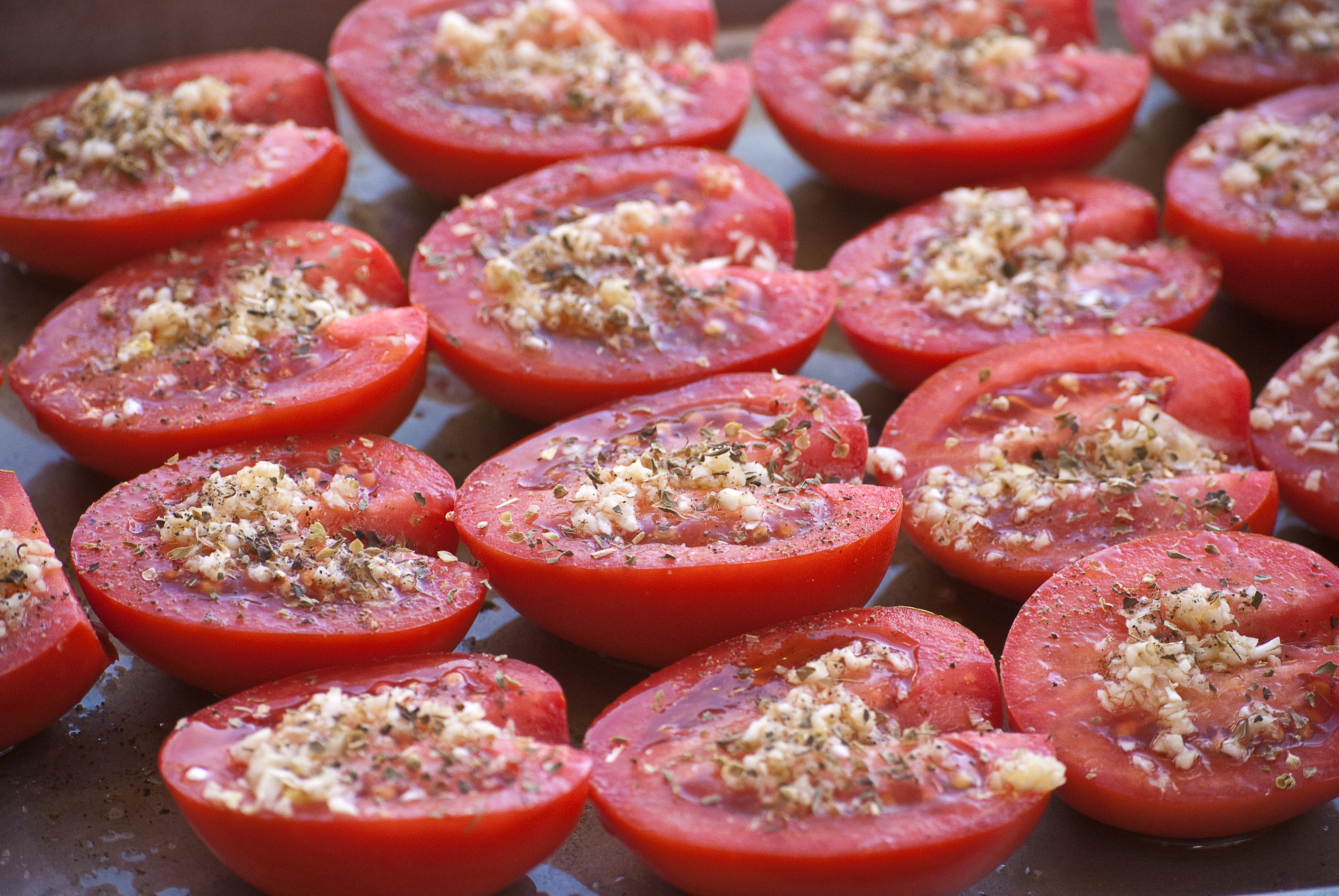 Tomatoes Prepped for a Slow Roast