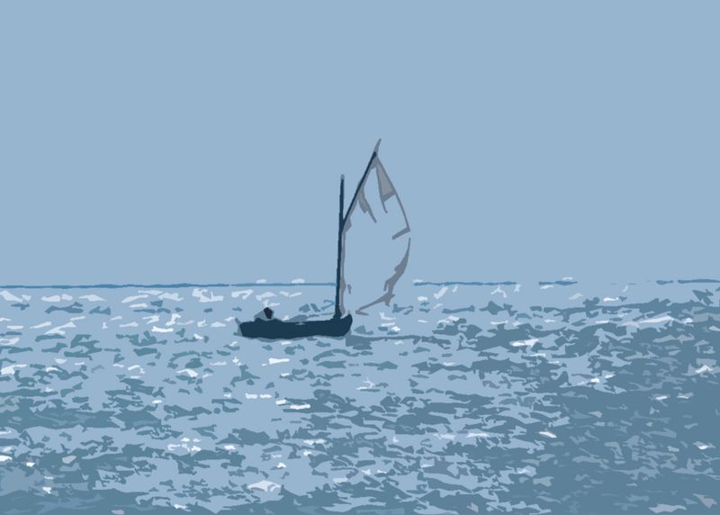 Gaff-rigged Catboat Running with the Wind in Boqueron Bay
