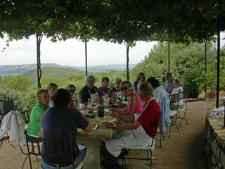 Eating Under the Arbor at Chanteduc