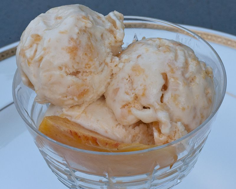 Homemade Peach Ice Cream - Open Window