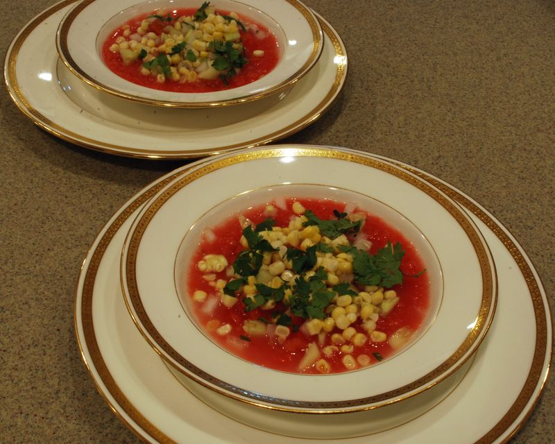Chilled Heirloom Tomato, Corn and Cucumber Soup with Fresh Cilantro