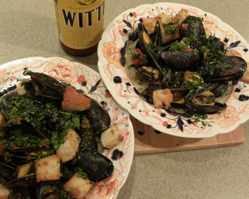 Mussels Steamed in Beer with Creme Fraiche and Herbs