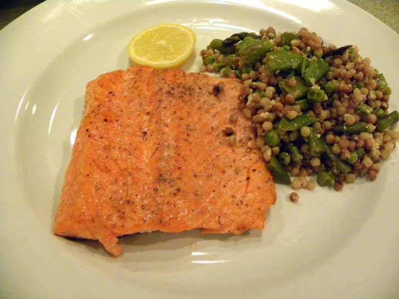 Sauteed Oven-baked Salmon and Israeli Couscous