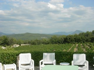 Terrace at Chanteduc overlooking the Vineyard with Mont Ventoux in the Distance