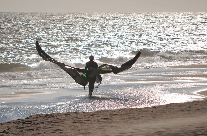Kite Surfer or Batman Calling It A Day?
