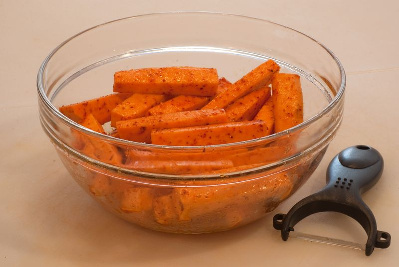 Sweet Potatoes Tossed with Extra-Virgin Olive Oil, Sea Salt, Cumin and Espelette Pepper