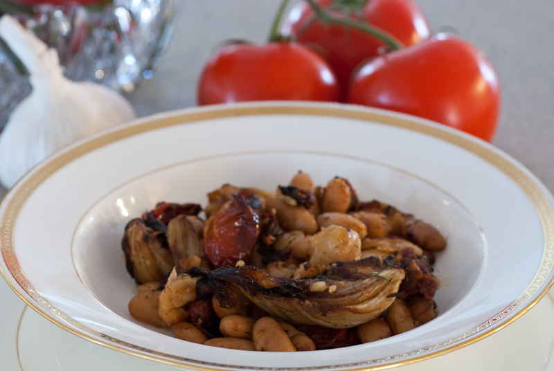 Roasted Tomatoes and Fennel with White Beans