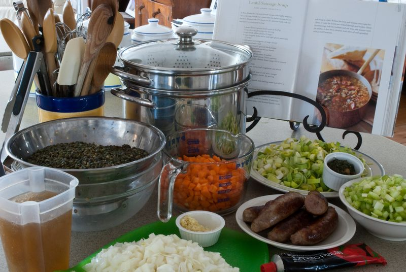 Ingredients for Lentil Sausage Soup ©2011 Claudia Ward