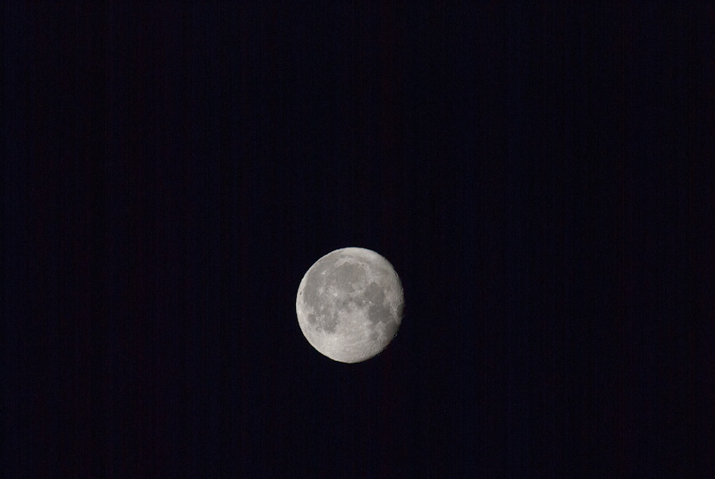The Waning Gibbous Moon Feb 20, 2011 , Nikon D60, 400mm, Tripod, Remote Release, ISO 100, 1/250 sec at f/11