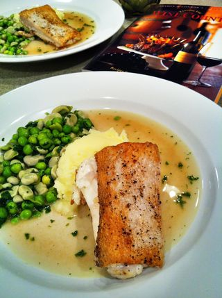 Halibut with Spring Vegetable Ragout and Mashed Potatoes; Fava beans still in their shell in this photo