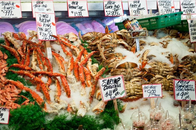 Alaskan King and Dungeness Crab at Pike Place Market Seattle