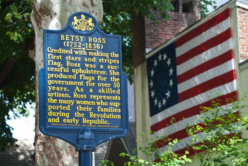 Betsy Ross House and Flag in Philadelphia