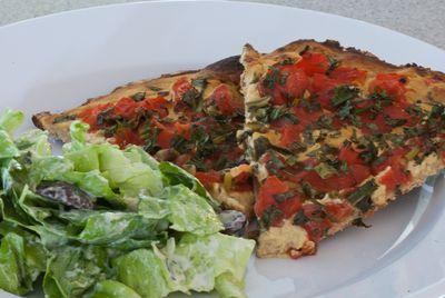 Tomato & Mustard Tart on Whole Wheat Crust with Green Salad