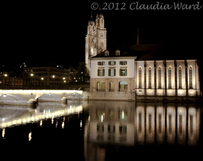 Limmat River After Dusk - Zurich Switzerland © 2012 Claudia Ward