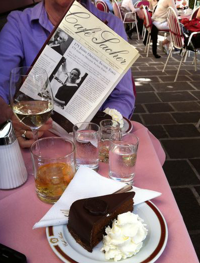 Sacher Torte at Cafe Sacher in Salzburg, Austria