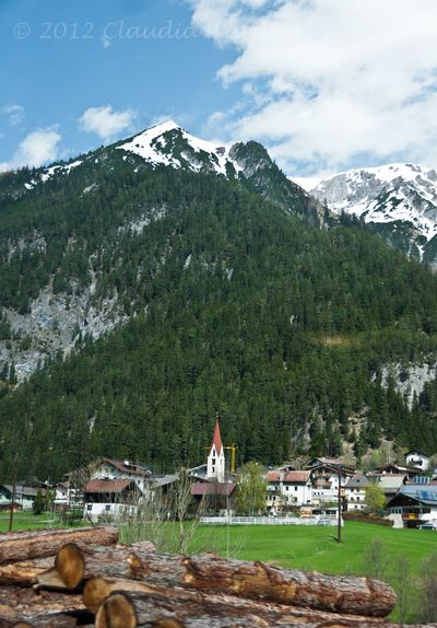 View from the train through the Austrian Alps