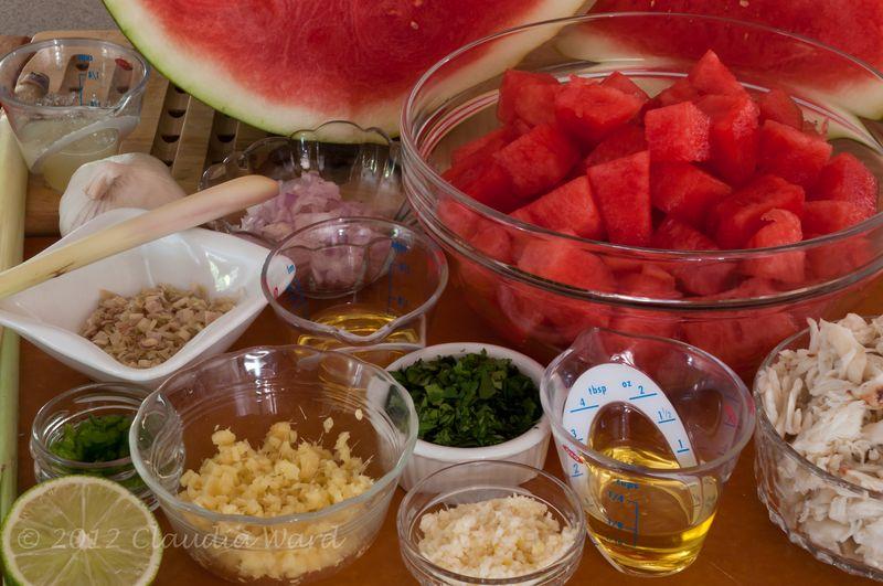 Mis en place - Thai Watermelon Soup with Crab