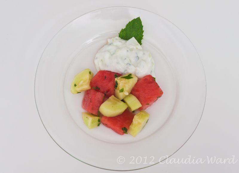 Watermelon_and_Cucumber_Mint Tsatsiki Salad