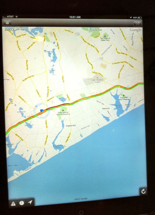 Screen Print from Traffic App re Montauk Highway Labor Day