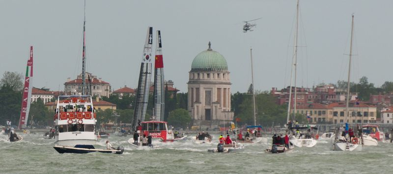 America's Cup Boats in the Lagoon in Venice on Sunday Afternoon ©2012 Claudia Ward