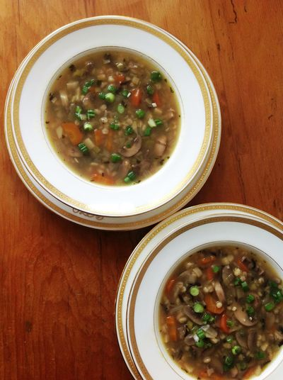 Mushroom Soup with Barley and Wild Rice