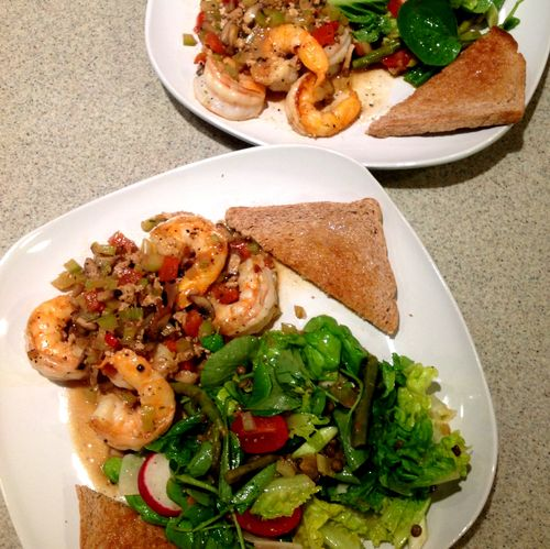 Shrimp and Vegetables with a Green Salad & Spelt Toast