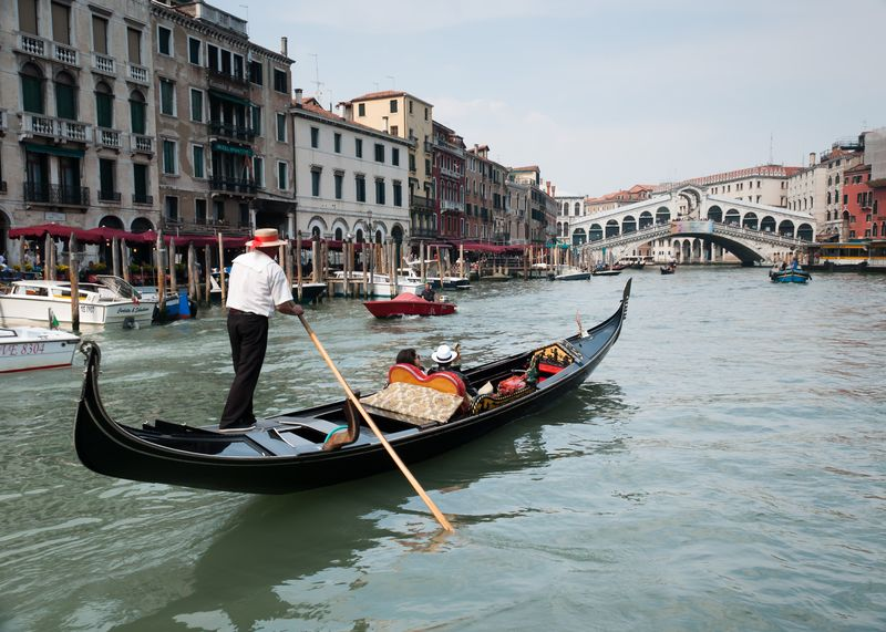 Gondola in the Grand Canal Heading for the Rialto Bridge