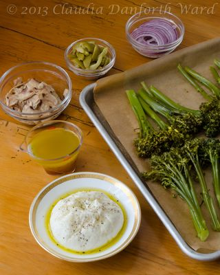 Broccolini Salad with Burrata Cheese Mise en PLace