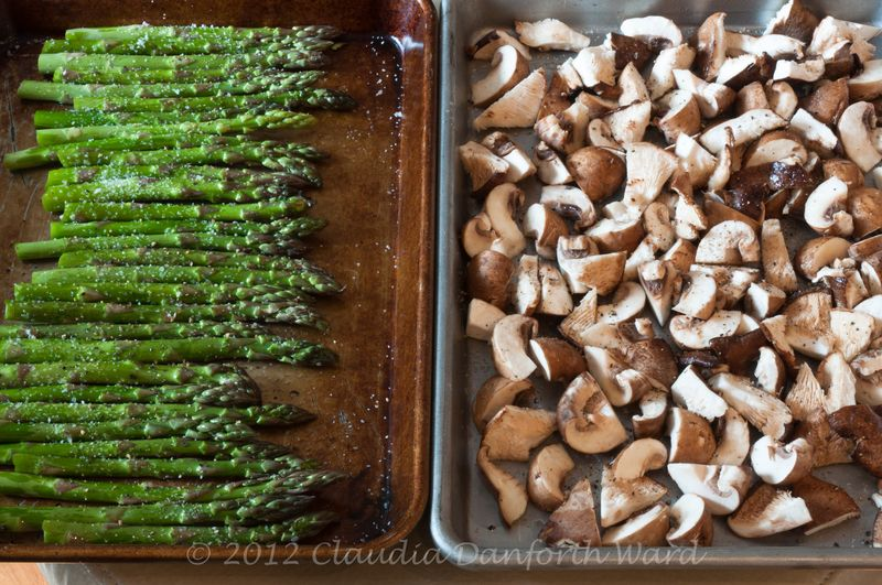 Roasting Asparagus and Mushrooms © 2012 Claudia Ward