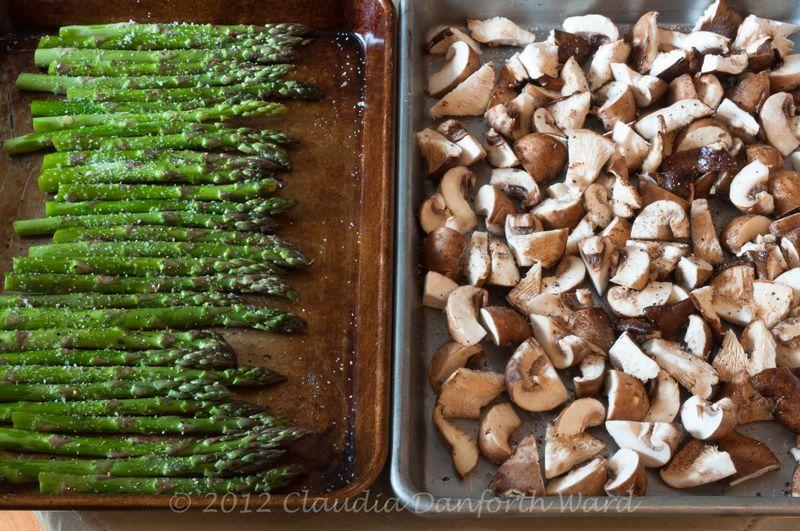 Roasting Asparagus and Mushrooms © 2012 Claudia Ward