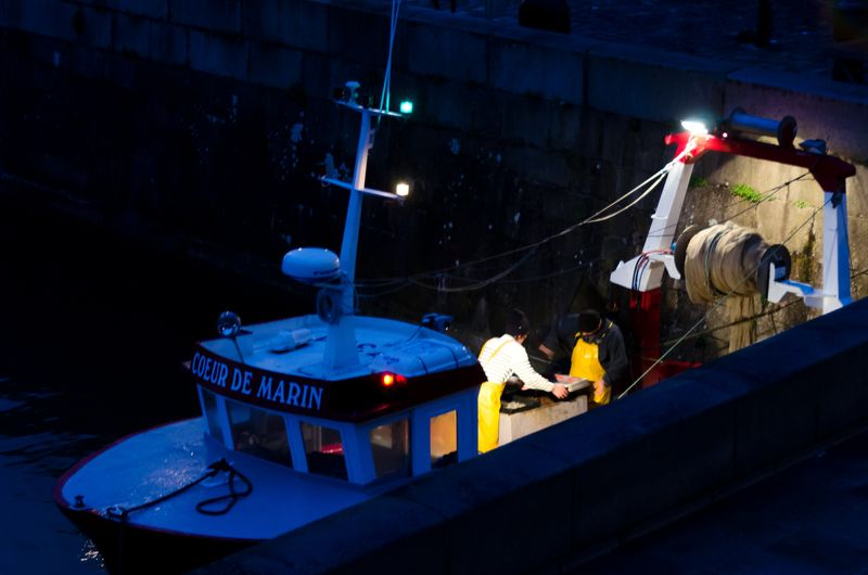 Fishermen Bringing the the Nightime Catch Honfleur
