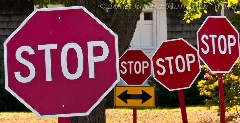 Compressed Stop Signs © 2011 Claudia Danforth Ward