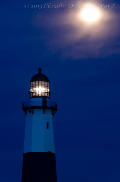 Full Moon in Blue Hour at Montauk Light © 2013 Claudia Ward