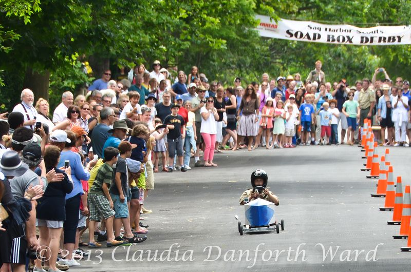 Andy Schaefer in the first race of the Sag Harbor Soap Box Derby