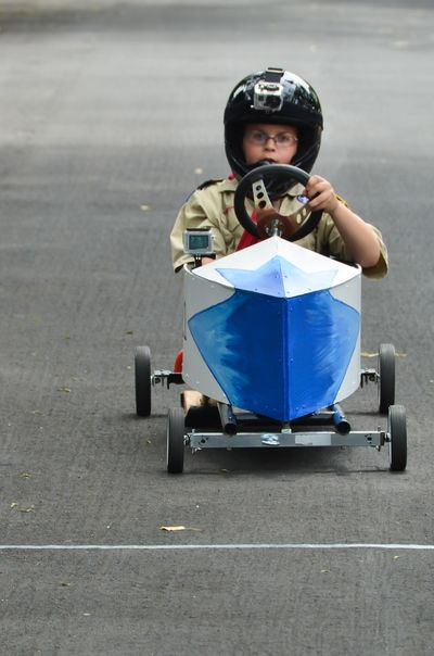 Charlie Schaefer Donning Two GoPros for the Sag Harbor Soap_Box_Derby