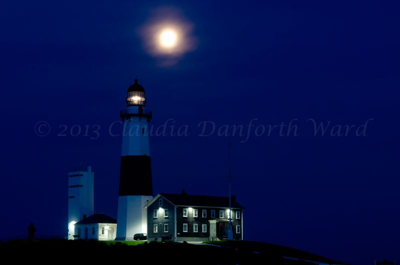 Blue Hour and a Full Moon at Montauk Lighthouse © 2013 Claudia Danforthn Ward