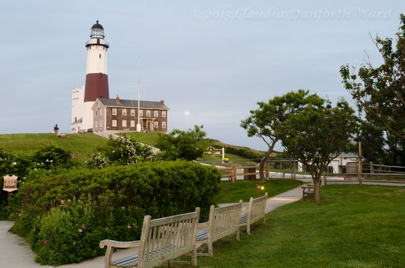 """Super"" Moon Rising Behind Montauk Lighthouse © 2013 Claudia Ward"