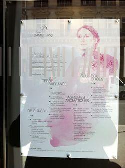 Menus at La Dame de Pic Paris