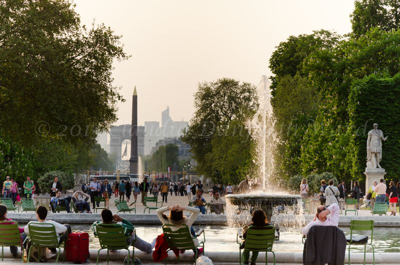 A view down the Champs Elysées from the Tuilerries to L'Arc de Triomphe