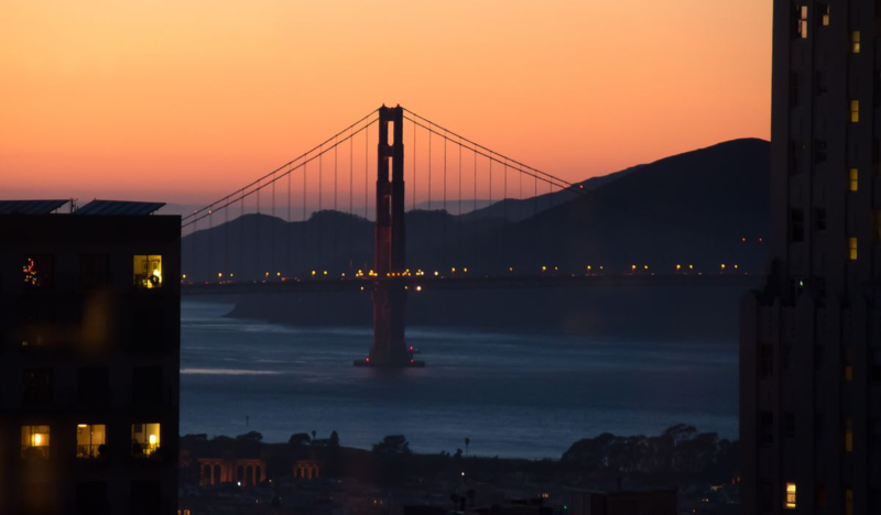 Sunset and Golden_Gate_Bridge_from the Top of the Mark San_Francisco ©2014 Claudia Ward