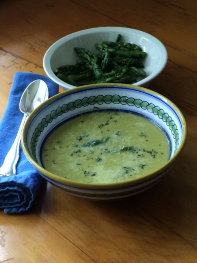 Cream-less Asparagus Soup with Lemon and Parmesan © 2014 Claudia Ward