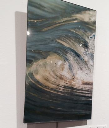 """""""Blue Cascade"""" 12x18 acrylic face mounted © Claudia Ward"""