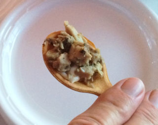Duck Confit with Soft Herb Cheese on an Edible Spoon