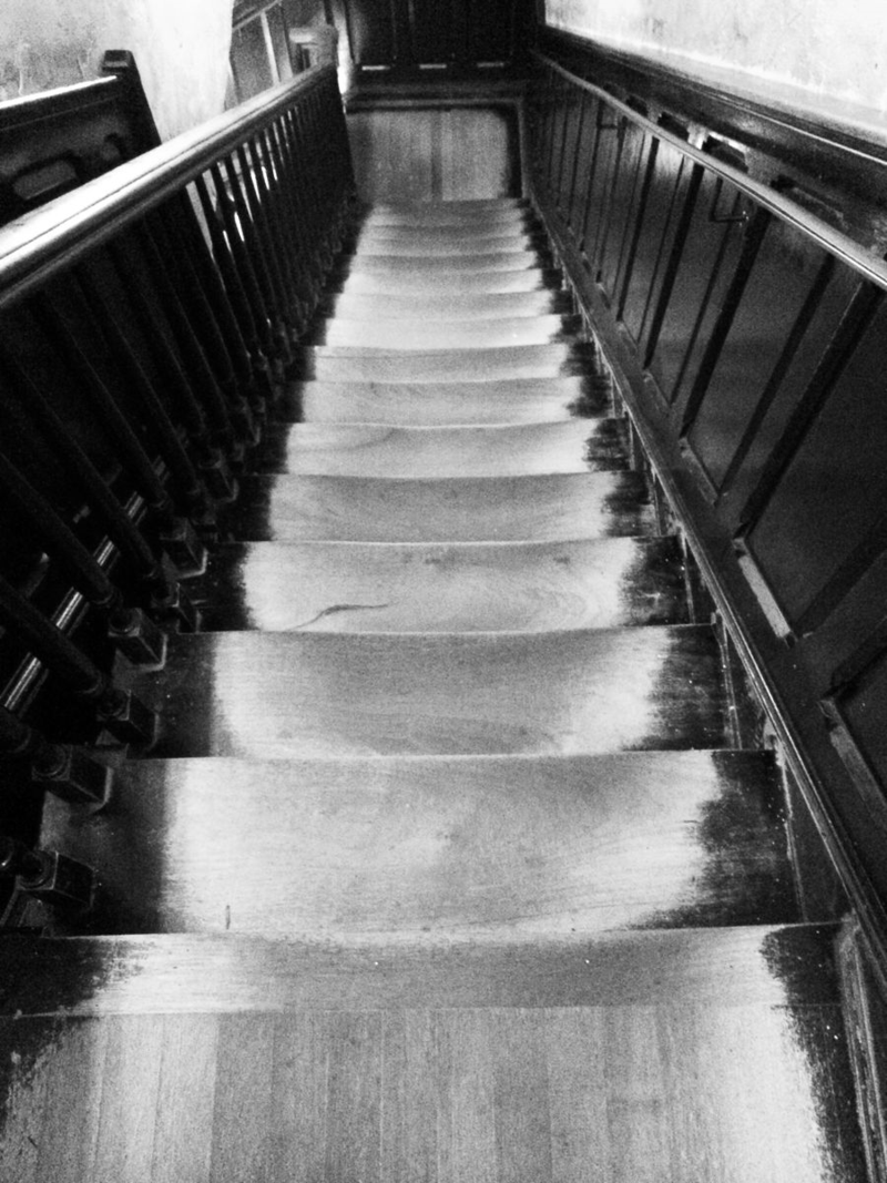 Black & White Worn Staircase ©2014 Claudia Ward