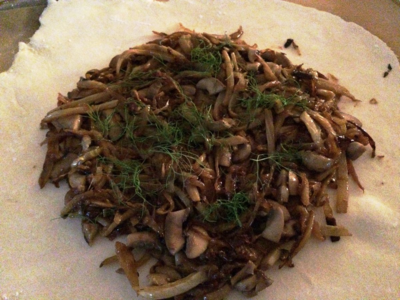 Caramelized Fennel & Onions with Sautéed Mushrooms - Galette
