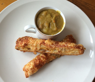 Ham & Gruyère Batons with Split Pea and Ham Soup