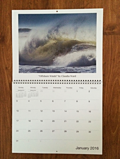 2016 Wave Art Wall Calendar by Claudia Ward