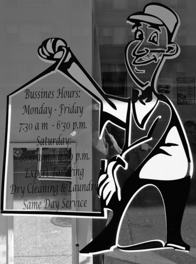Dry Cleaner's Window Advertising Hours