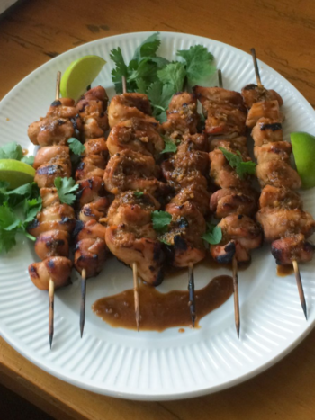 Honey, Line & Sriracha Chicken Skewers