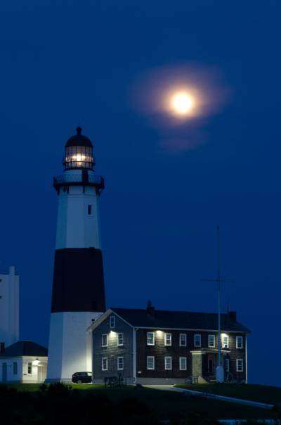 The Strawberry Moon Rising at Montauk Point © 2013 Claudia Ward